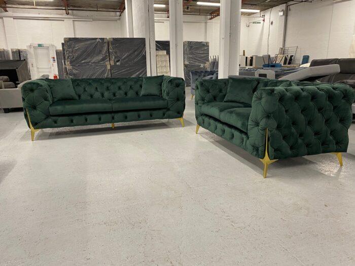 Annabelle Velvet 3 Seater & 2 Seater Chesterfield Sofa Set Green - Dagenham 2