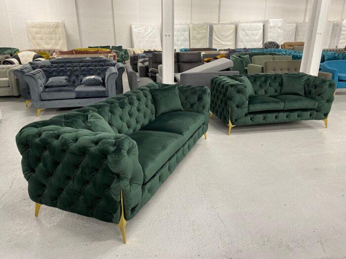 Annabelle Velvet 3 Seater & 2 Seater Chesterfield Sofa Set Green - Dagenham 3