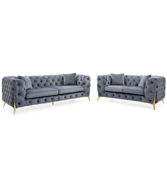 Annabelle Velvet 3 Seater + 2 Seater Chesterfield Sofa Set - Grey