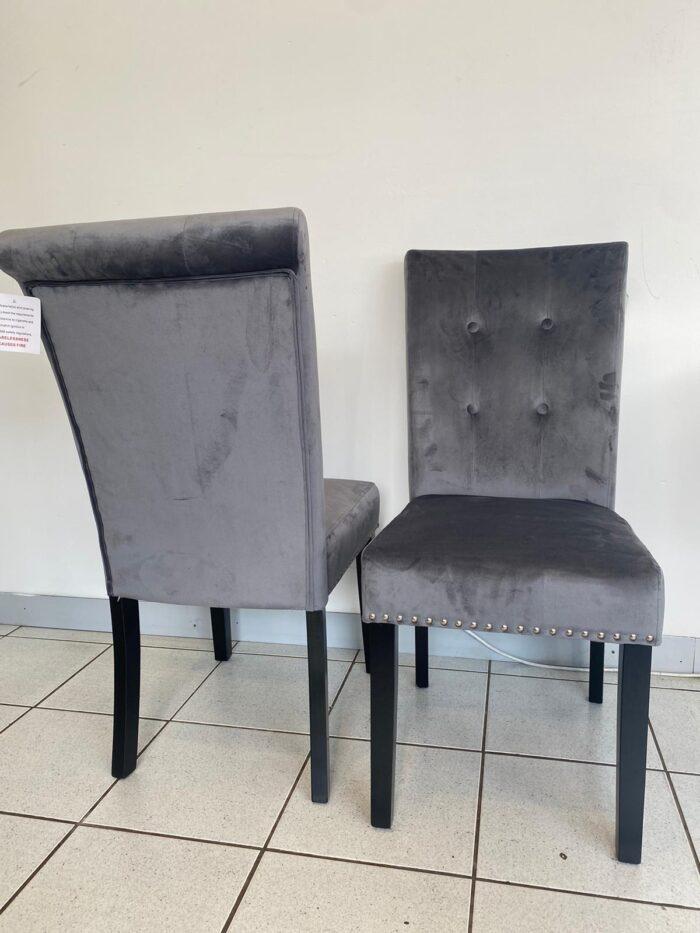 Cabrini Velvet Dining Chairs With Black Legs - Grey (Pair)