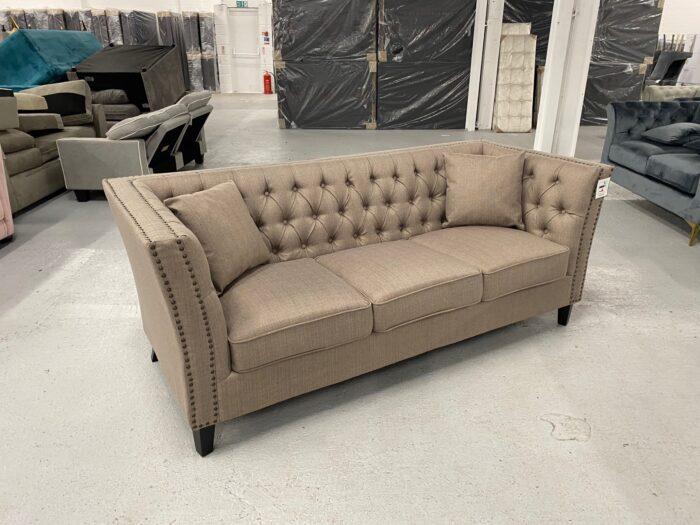Chloe Studded Velvet 3 Seater Chesterfield Sofa - Brown Side View