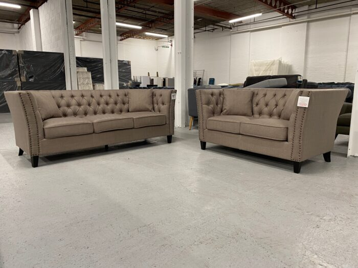 Chloe 3 Seater & 2 Seater Chesterfield Sofa Set - Brown