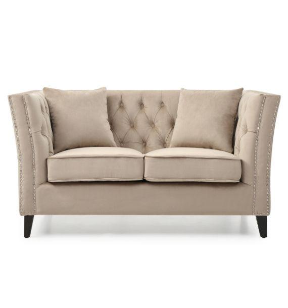 Chloe Studded Velvet 2 Seater Chesterfield Sofa - Light Sand Front View