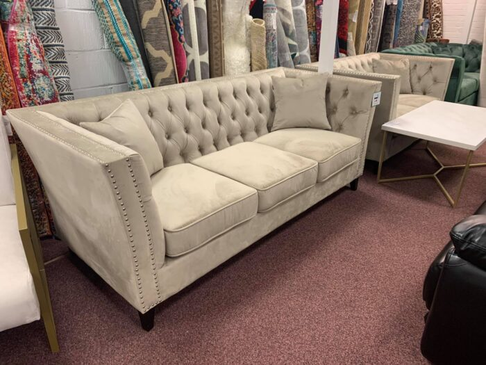 Chloe 3 Seater Sofa & 2 Seater Light Sand Chesterfield Sofa Set - Wickford