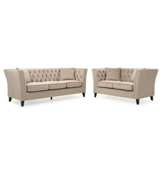 Chloe 3 Seater & 2 Seater Chesterfield Sofa Set - Light Sand
