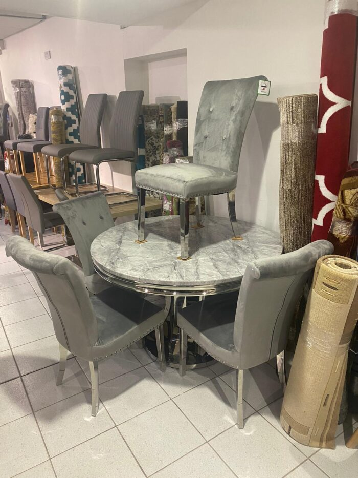 Monaco 1.2m Round Dining Table & 4 Dining Chairs - Leigh-on-Sea