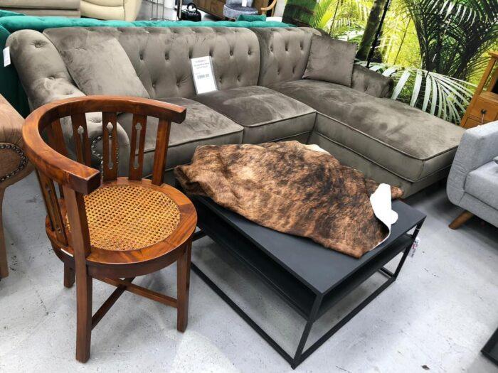 Christie Right Hand Velvet Chaise Corner Sofa - Grey at Dagenham Store