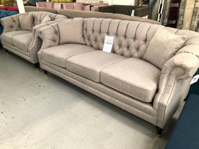 Carmen 3 Seater & 2 Seater Modern Chesterfield Sofa Set - Grey at Dagenham Store