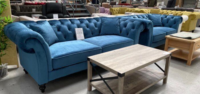 Charlotte 3 Seater & 2 Seater Chesterfield Sofa Set - Blue at Dagenham Store