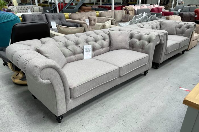 Charlotte 3 Seater & 2 Seater Chesterfield Sofa Set - Grey at Dagenham Store
