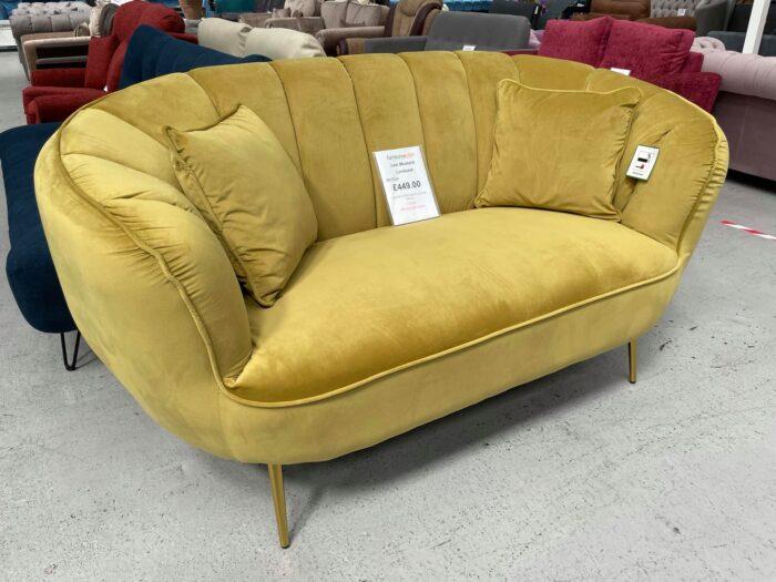 Lexi Velvet Loveseat 2 Seater Sofa - Mustard at Dagenham Store