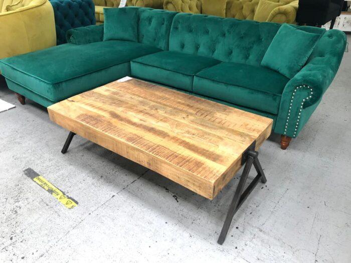 Christie Left Hand Velvet Chaise Corner Sofa - Green at Dagenham Store