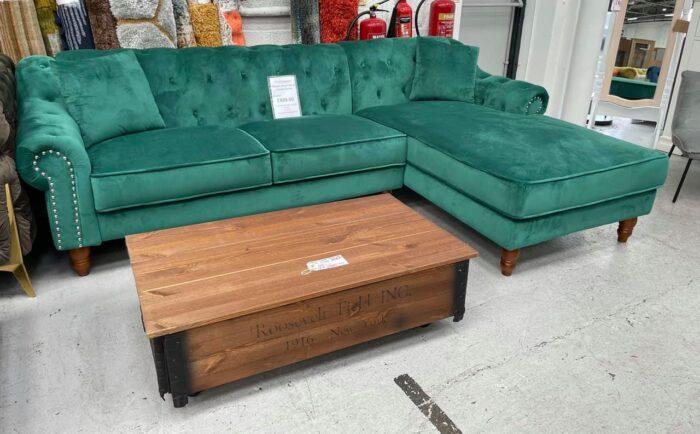 Christie Right Hand Velvet Chaise Corner Sofa - Green at Dagenham Store