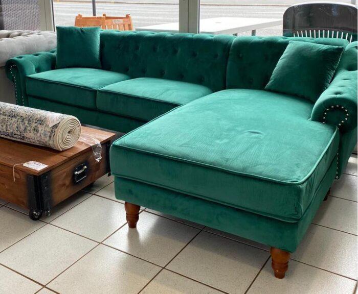 Christie Right Hand Velvet Chaise Corner Sofa - Green at Leigh-on-Sea Store