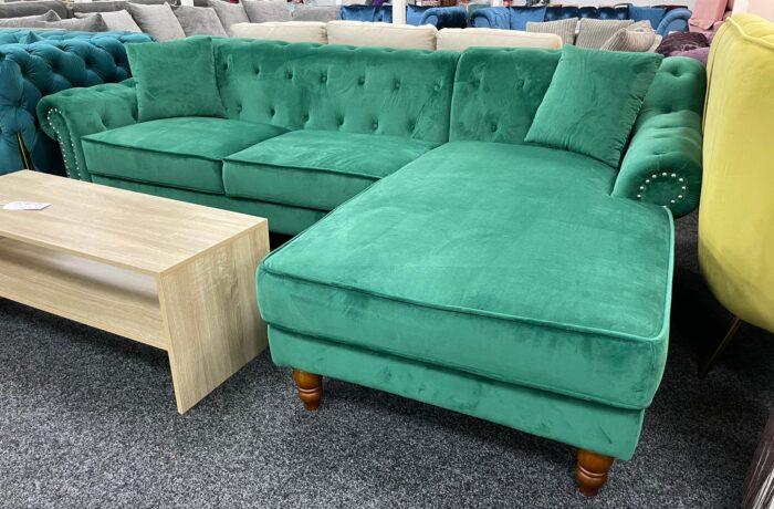 Christie Right Hand Velvet Chaise Corner Sofa - Green at Wickford Store