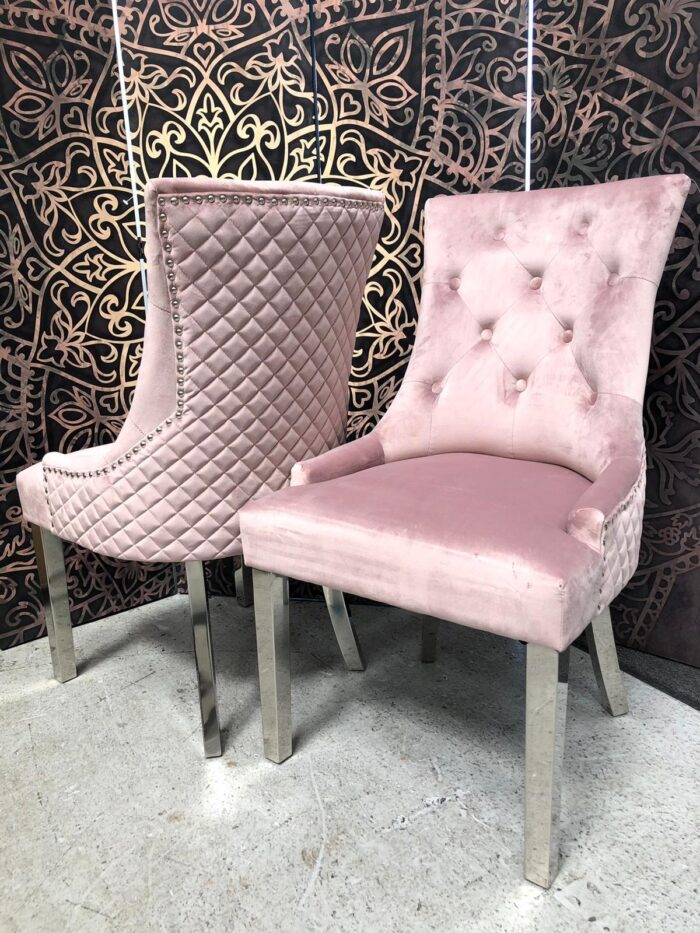 Coco Velvet Dining Chairs with Metal Chrome Legs - Blush (Pair)