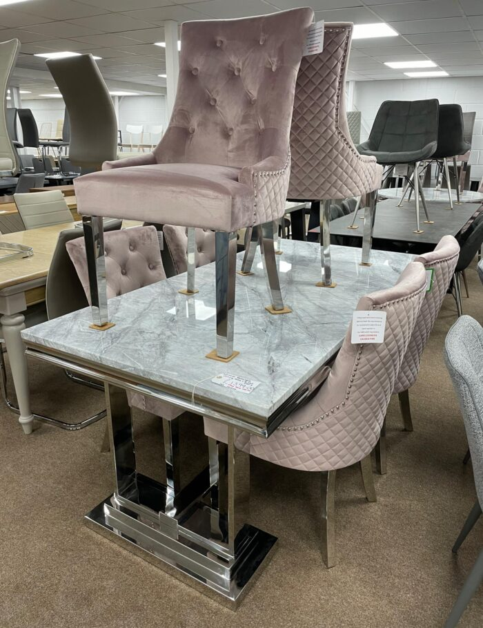 Monaco 1.8m Dining Table & 6 Blush Coco Dining Chairs at Wickford Store