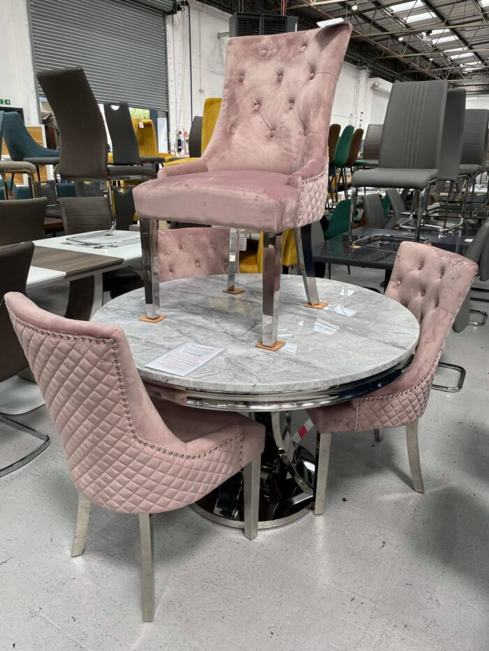 Monaco 1.2m Round Dining Table & 4 Blush Coco Dining Chairs at Dagenham Branch