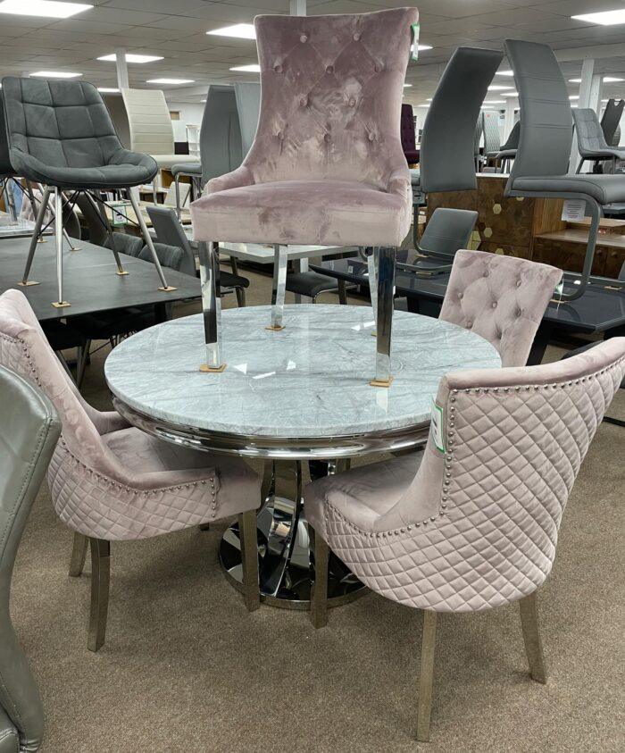 Monaco 1.2m Round Dining Table & 4 Blush Coco Dining Chairs at Wickford Store