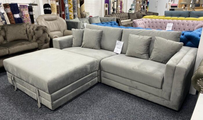 Morgan Velvet 4 Seater Sofa With Storage Ottoman - Grey at Wickford Store