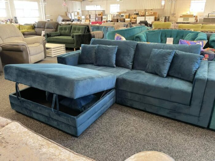 Morgan Velvet 4 Seater Sofa With Storage Ottoman - Blue at Wickford Store