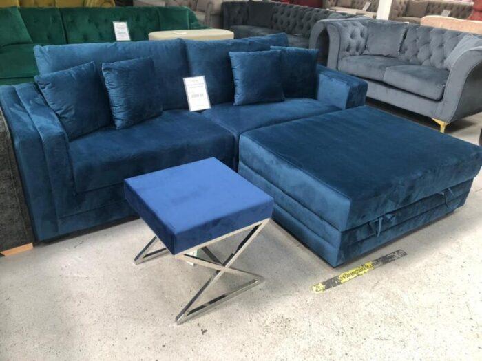Morgan Velvet 4 Seater Sofa With Storage Ottoman - Blue at Dagenham Store