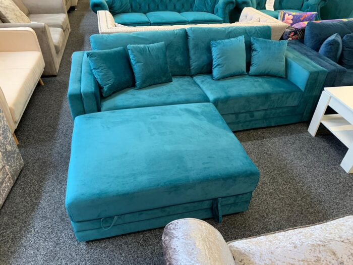 Morgan Velvet 4 Seater Sofa With Storage Ottoman - Teal at Wickford Store