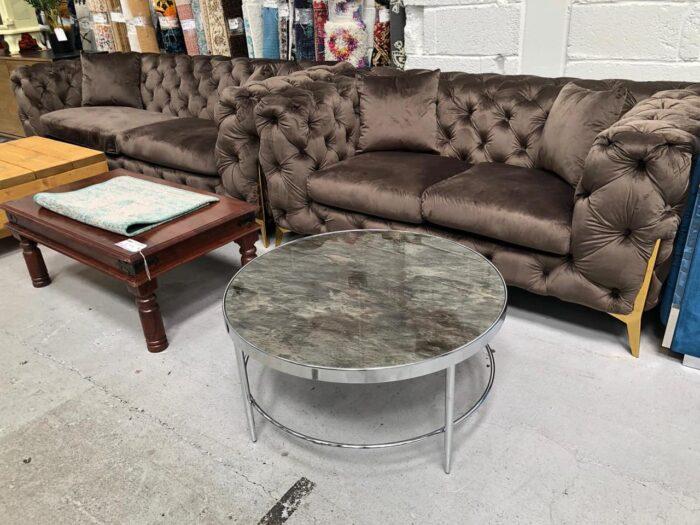 Annabelle 3 Seater & 2 Seater Chesterfield Sofa Set - Brown at Dagenham Store