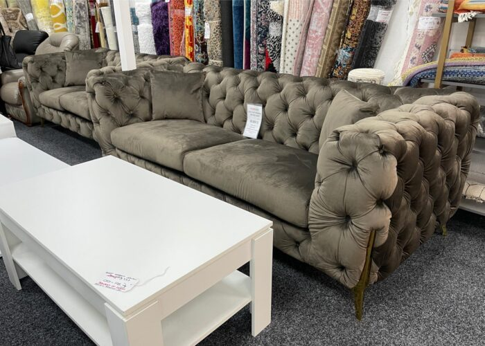 Annabelle 3 Seater & 2 Seater Chesterfield Sofa Set - Brown at Wickford Store