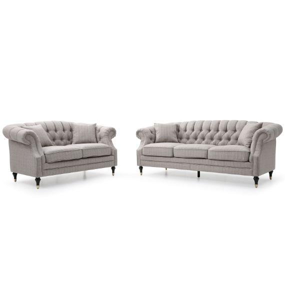 Carmen 3 Seater & 2 Seater Modern Chesterfield Sofa Set - Grey