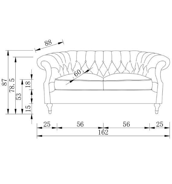 Carmen Velvet 2 Seater Modern Chesterfield Sofa Dimensions Diagram