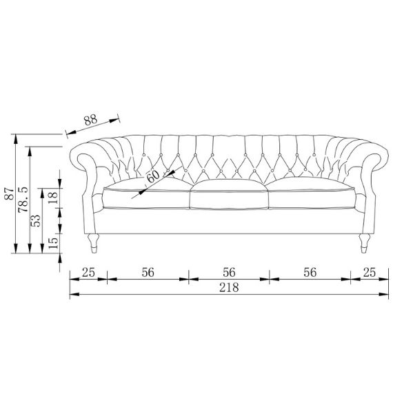 Carmen Velvet 3 Seater Modern Chesterfield Sofa Dimensions Diagram