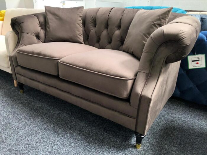 Grab yourself an amazing deal with our Carmen Velvet 2 Seater Modern Chesterfield Sofa - Fawn at Dagenham Store