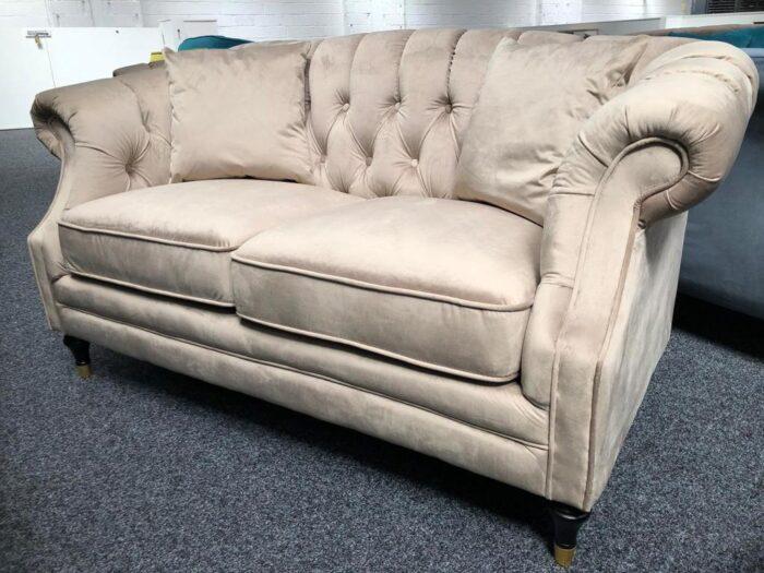 Carmen Velvet 2 Seater Modern Chesterfield Sofa - Mink at Dagenham Store