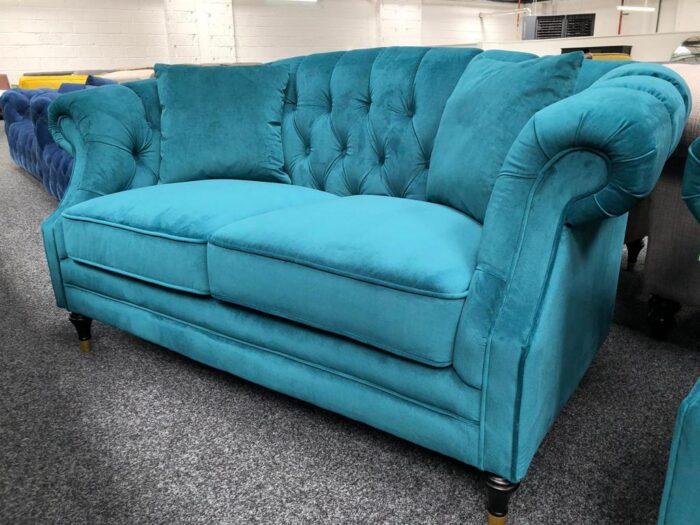 Carmen Velvet 2 Seater Modern Chesterfield Sofa - Teal at Dagenham Store