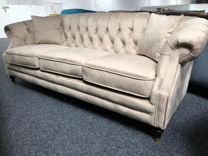 Carmen Velvet 3 Seater Modern Chesterfield Sofa - Mink at Dagenham Store