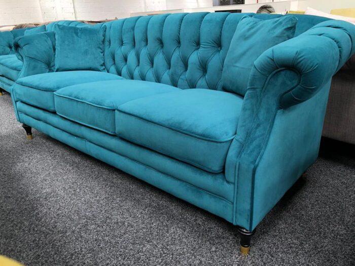 Carmen Velvet 3 Seater Modern Chesterfield Sofa - Teal at Dagenham Store
