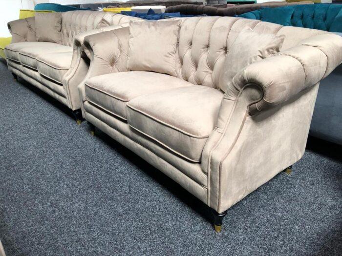 Carmen 3 Seater & 2 Seater Modern Chesterfield Sofa Set - Mink at Dagenham Store
