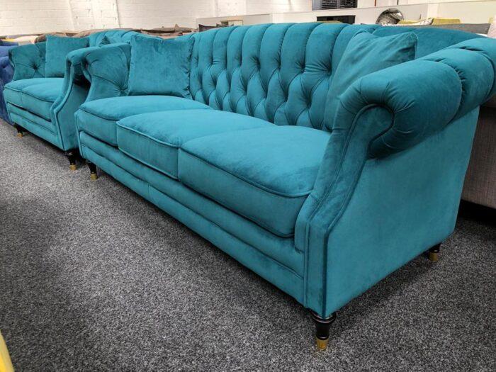 Carmen 3 Seater & 2 Seater Modern Chesterfield Sofa Set - Teal at Dagenham Store