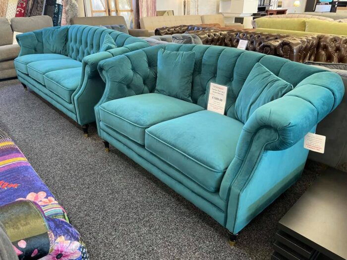 Carmen 3 Seater & 2 Seater Modern Chesterfield Sofa Set - Teal at Wickford Store