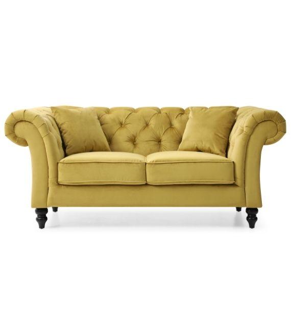 Charlotte Velvet 2 Seater Chesterfield Sofa - Mustard
