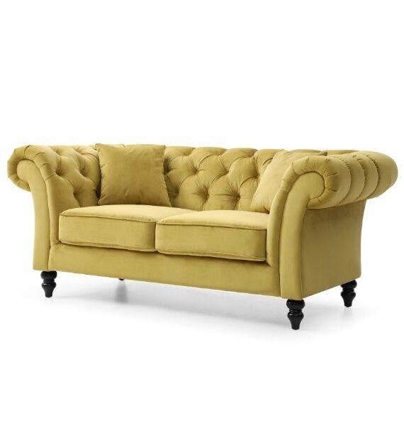 Charlotte Velvet 2 Seater Chesterfield Sofa - Mustard side view