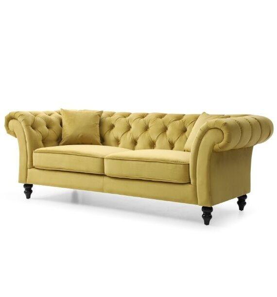 Charlotte Velvet 3 Seater Chesterfield Sofa - Mustard side view