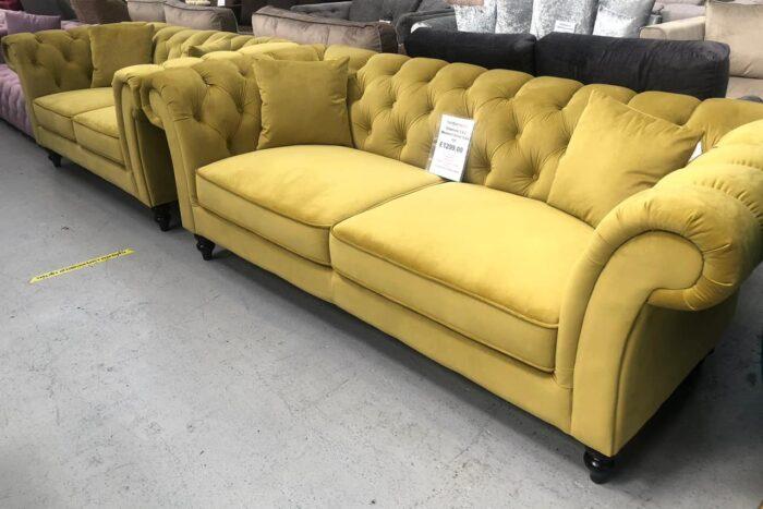 Charlotte Velvet 2 Seater Chesterfield Sofa - Mustard at Dagenham Store
