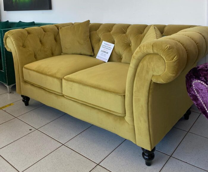 Charlotte 3 Seater & 2 Seater Chesterfield Sofa Set - Mustard at Leigh-on-Sea Store