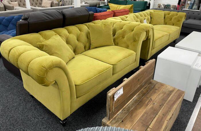 Charlotte Velvet 2 Seater Chesterfield Sofa - Mustard at Wickford Store