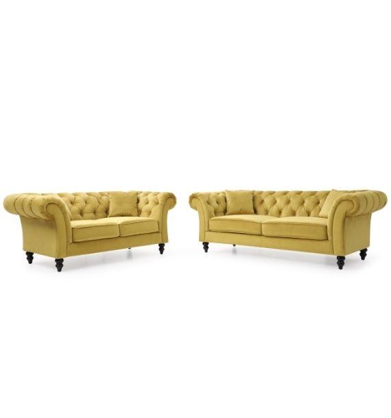 Charlotte 3 Seater & 2 Seater Chesterfield Sofa Set - Mustard