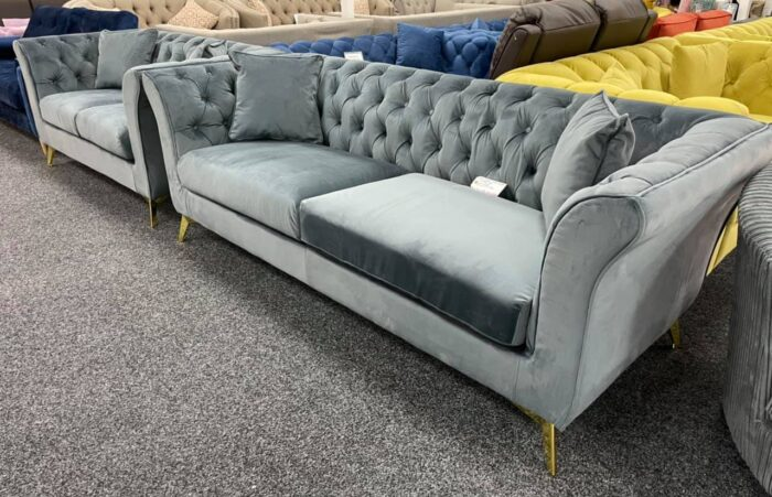 Lauren 3 Seater & 2 Seater Chesterfield Sofa Set - Grey in Wickford Store
