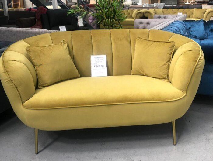 Lexi Velvet Loveseat 2 Seater Sofa - Mustard in Dagenham Store