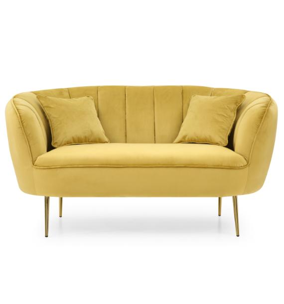 Lexi Velvet Loveseat 2 Seater Sofa - Mustard